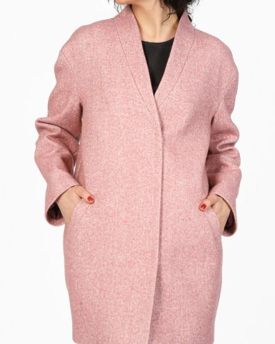 Пальто розовое кокон Glam Casual