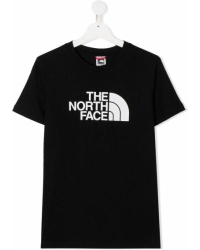 Хлопковая черная футболка с короткими рукавами с круглым вырезом The North Face Kids