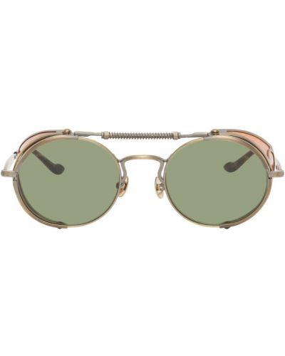 Кожаные зеленые солнцезащитные очки круглые Matsuda