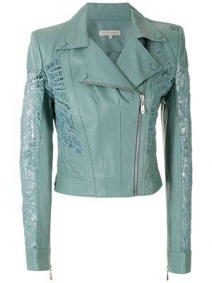 Синяя кожаная куртка на молнии Martha Medeiros