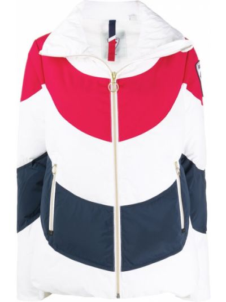 Белая стеганая куртка с нашивками на молнии с воротником Rossignol