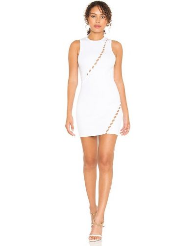 Текстильное белое платье мини с вырезом H:ours