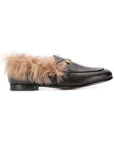 Черные лоферы на каблуке винтажные с пряжкой Gucci Pre-owned