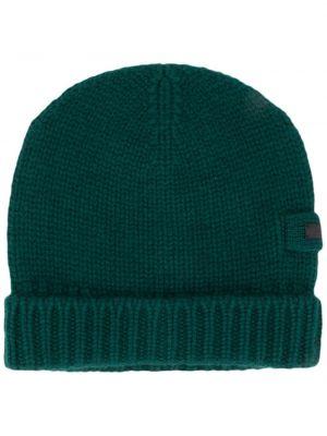 Zielona z kaszmiru czapka Prada