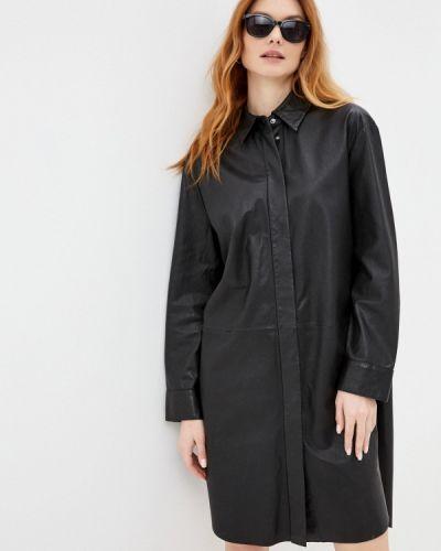 Кожаное черное платье Marc O'polo