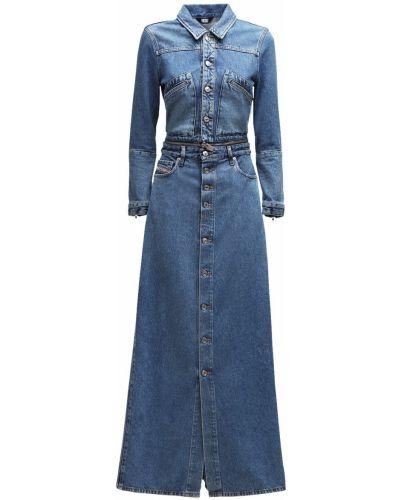 Синее восточное платье макси с карманами Diesel