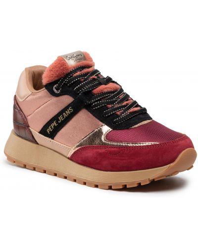 Buty sportowe skorzane - różowe Pepe Jeans
