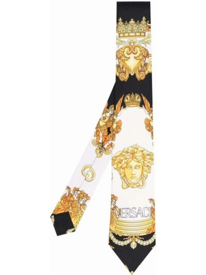 Złoty krawat - biały Versace