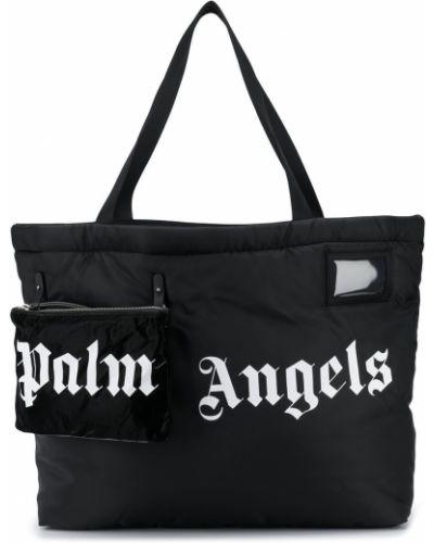 Bawełna czarny torba na zakupy z prawdziwej skóry Palm Angels