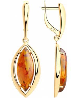 Серебряные серьги золотые с янтарем Sokolov