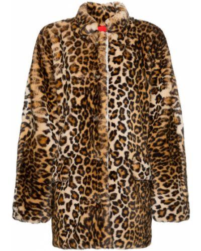 Длинная шуба леопардовая с принтом Sandy Liang