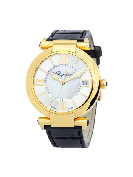 Кожаные серебряные часы на кожаном ремешке круглые Chopard