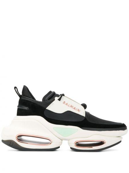 Массивные черные кроссовки на шнуровке металлические Balmain
