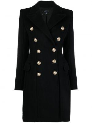 Черное кашемировое пальто двубортное Balmain