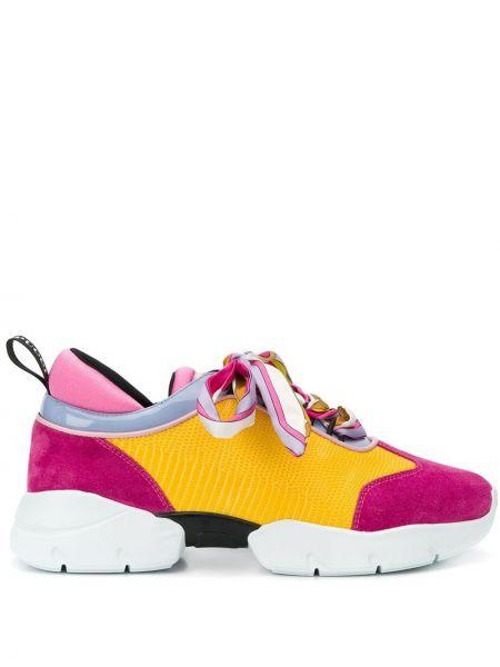 Skórzane sneakersy różowy żółty Emilio Pucci