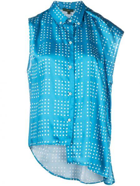 Niebieska koszula w grochy asymetryczna Jejia
