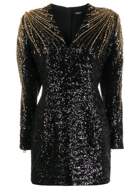 Шелковое черное коктейльное платье с пайетками Balmain