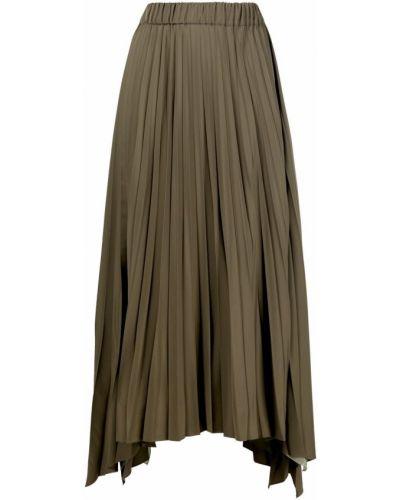 Асимметричная зеленая юбка миди с поясом Antonelli