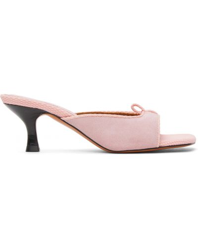 Sandały skórzane na obcasie - czarne Abra