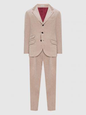 Костюмный бежевый костюм вельветовый Brunello Cucinelli