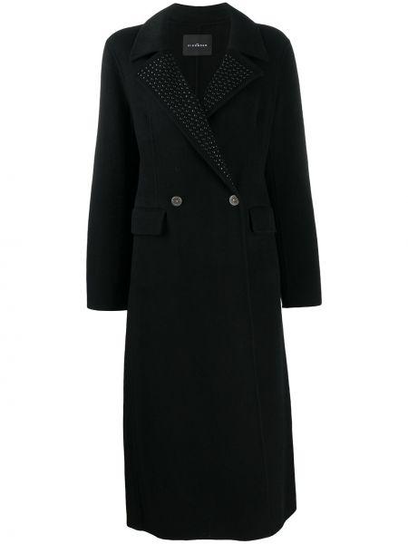Czarny płaszcz wełniany z długimi rękawami John Richmond