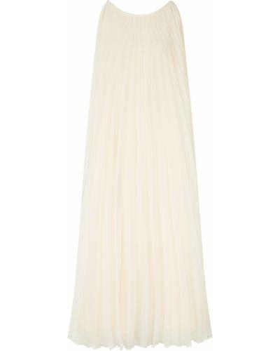 Шифоновое бежевое платье миди с поясом Laroom