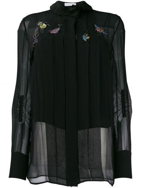 Czarna bluzka z długimi rękawami z falbanami Carven