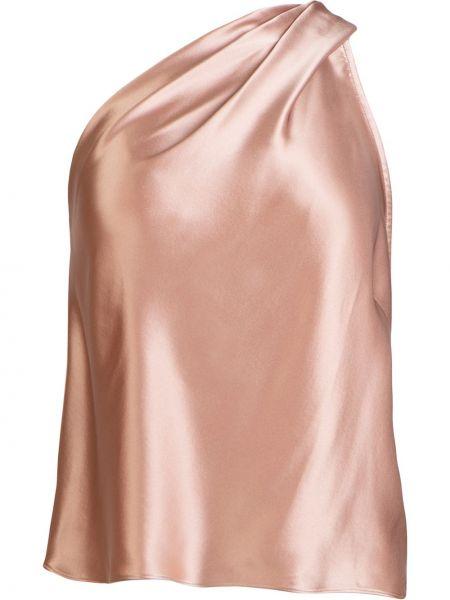 Сатиновый асимметричный розовый топ Michelle Mason