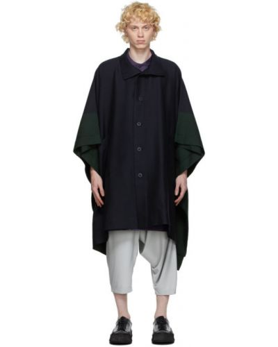 Зеленое шерстяное длинное пальто с воротником с карманами 132 5. Issey Miyake
