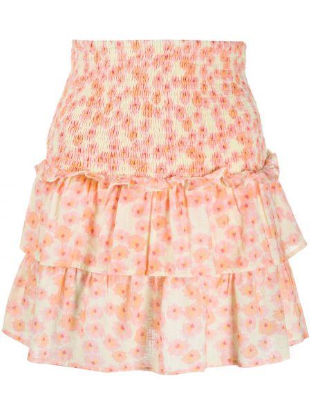 Хлопковая розовая юбка с оборками Cecilie Copenhagen