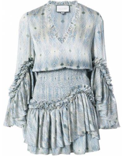 Платье мини с оборками с принтом Alexis