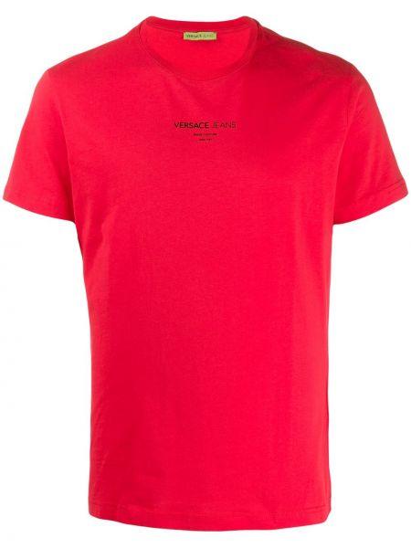 T-shirt z printem - różowa Versace Jeans