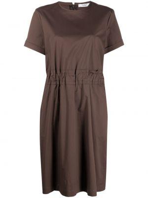 Хлопковое коричневое платье А-силуэта с короткими рукавами Peserico