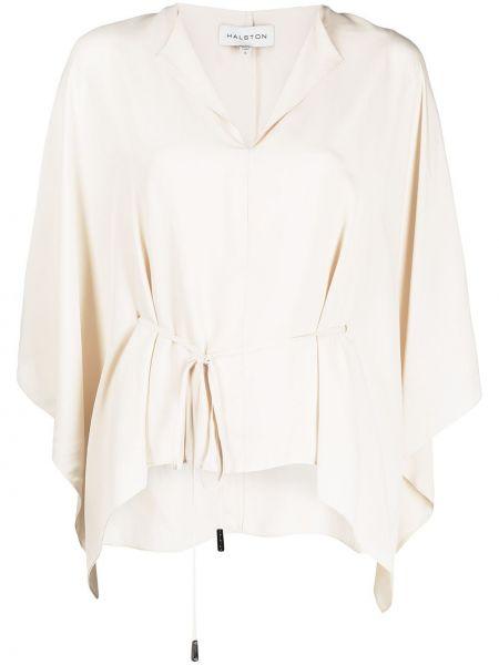 Шелковая блузка с драпировкой с короткими рукавами Halston Heritage