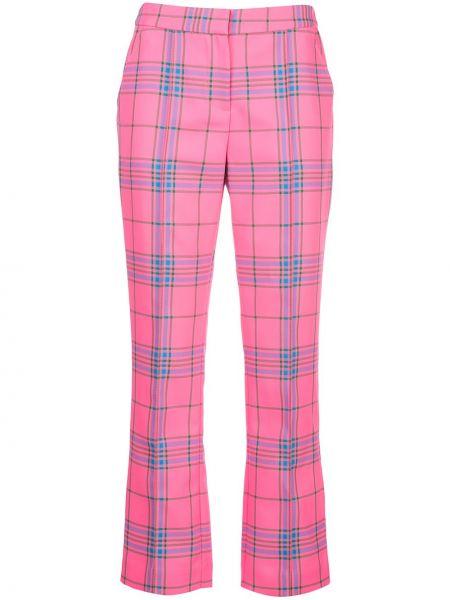 Розовые укороченные брюки с карманами узкого кроя на молнии Tanya Taylor