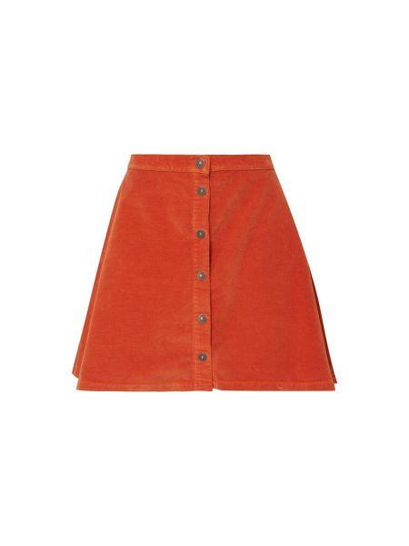 Pomarańczowa spódnica mini rozkloszowana bawełniana Ltb