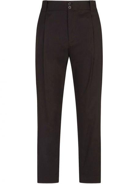 Bawełna spodni czarny przycięte spodnie z kieszeniami Dolce And Gabbana