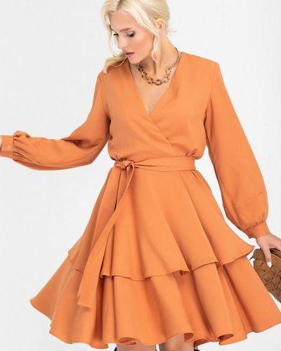 Оранжевое платье с запахом Olga Peltek