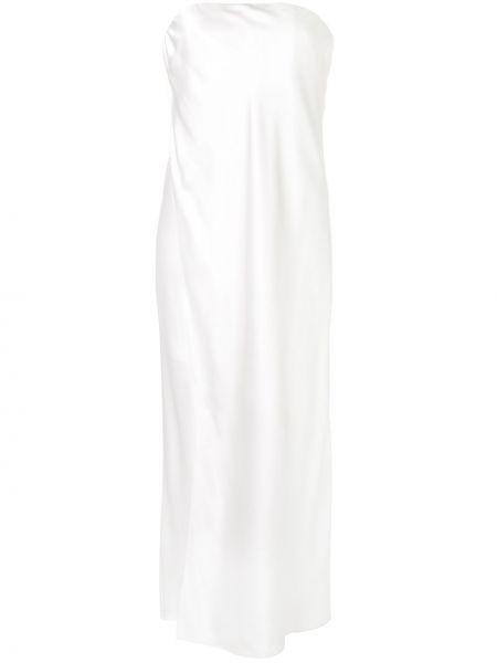 Jedwab biały kaftan z draperią Michelle Mason