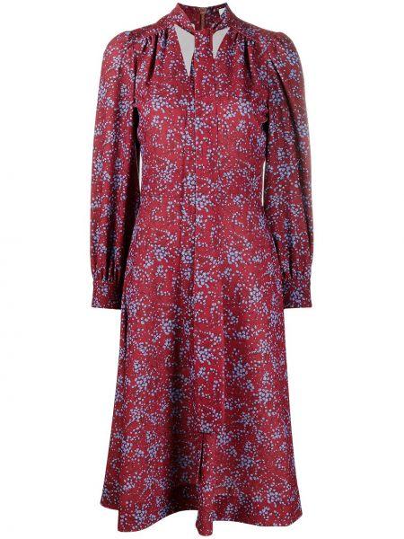 Приталенное синее платье миди в цветочный принт See By Chloé