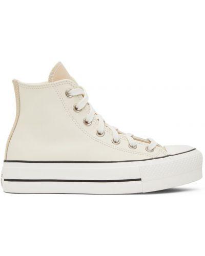 Коричневые высокие кроссовки на шнуровке на каблуке с заплатками Converse