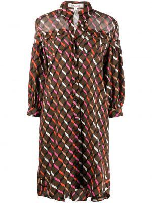 Brązowa sukienka zapinane na guziki Dvf Diane Von Furstenberg