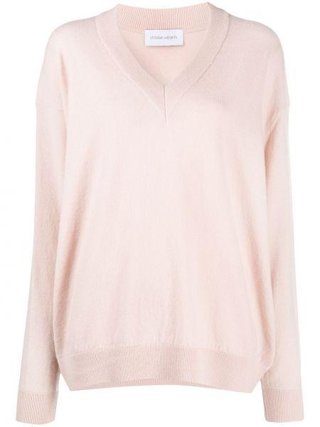 Шерстяной розовый тонкий свитер с V-образным вырезом Christian Wijnants