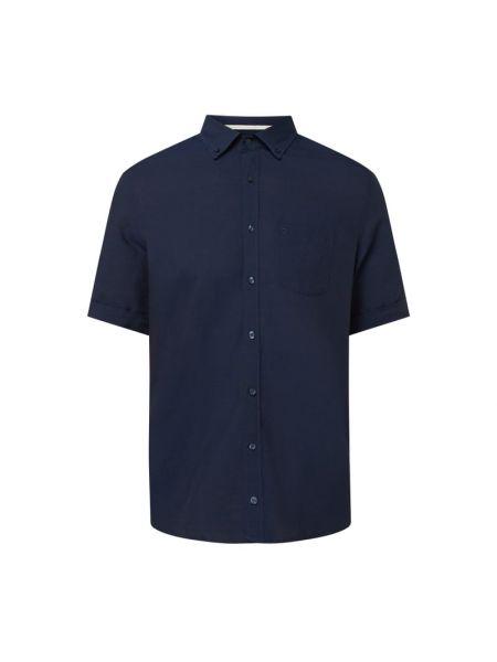 Niebieska lniana koszula krótki rękaw Olymp