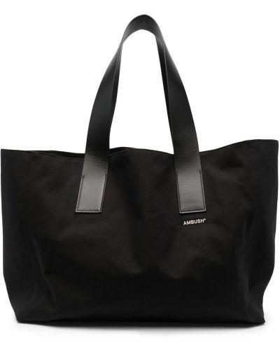 Czarna torebka duża skórzana z haftem Ambush