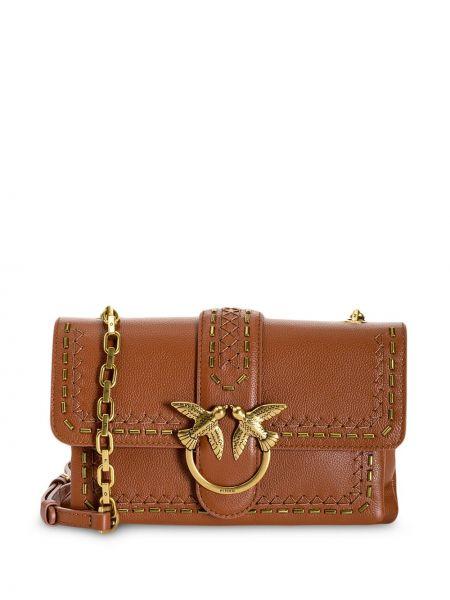С ремешком коричневая кожаная сумка через плечо Pinko