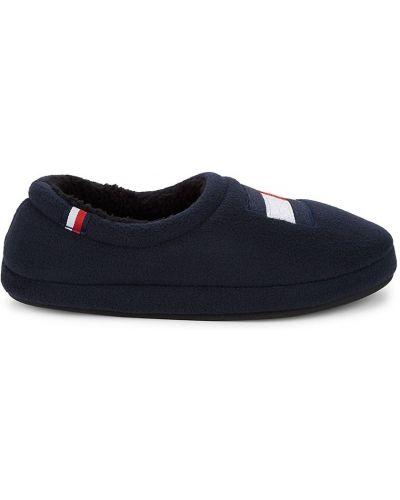 Синие плюшевые тапочки с вышивкой Tommy Hilfiger