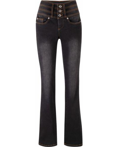 Расклешенные джинсы моделирующие черные Bonprix