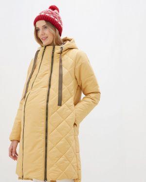 Утепленная куртка - желтая мамуля красотуля ..в ожидании чуда