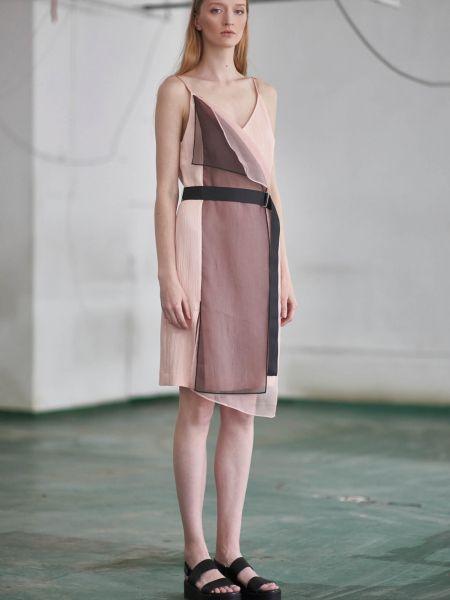 Платье с поясом из органзы из вискозы Vassa&co
